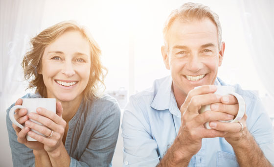 Photo of a couple drinking coffee