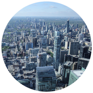 Aerial photo of a downtown core